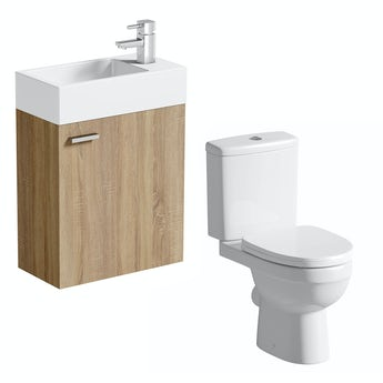 Compact oak wall hung unit with Energy close coupled toilet