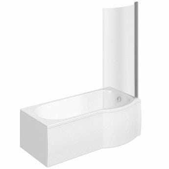 P shaped right handed shower bath 1500mm with 6mm shower screen