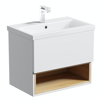 Mode Tate white & oak 600 wall hung vanity unit with basin