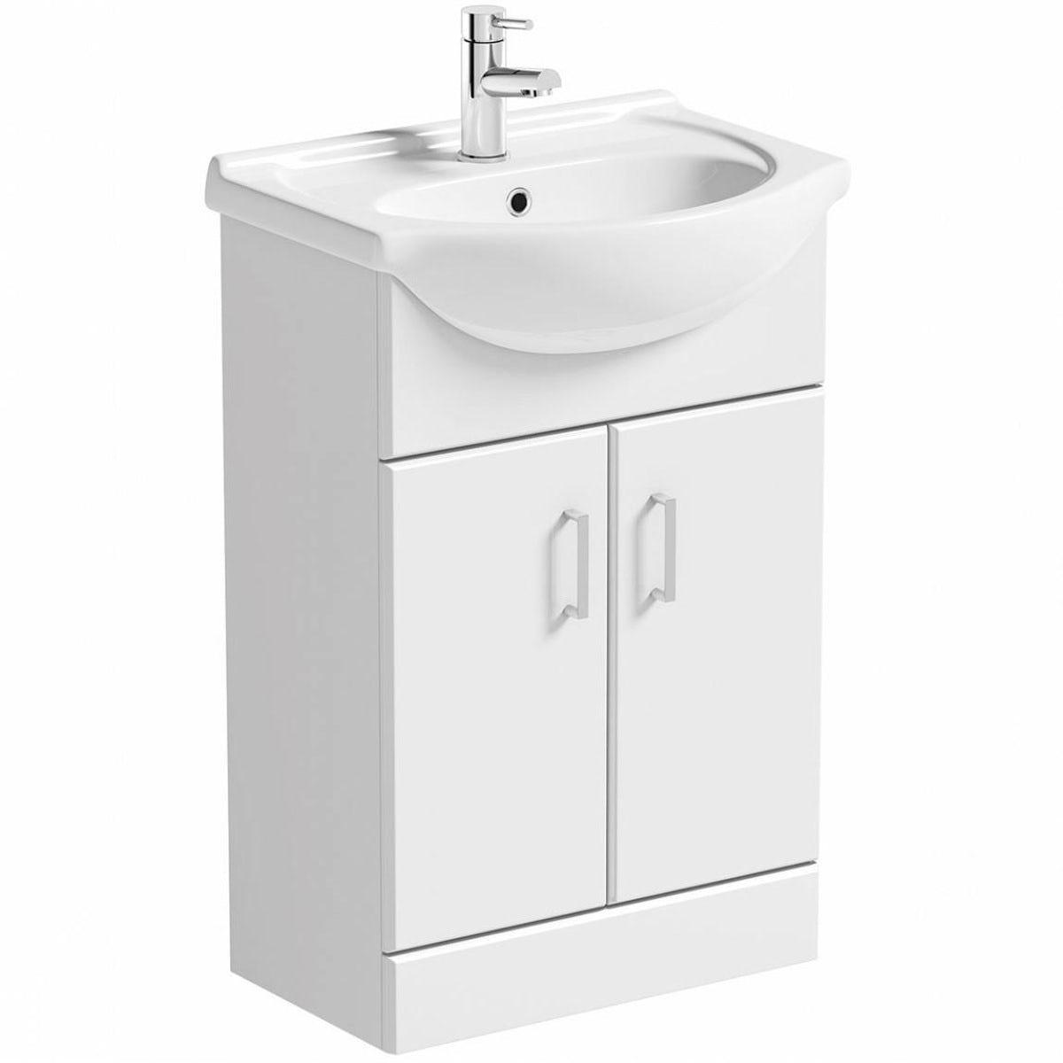Sienna white vanity bathroom set with kensington straight for White bath set