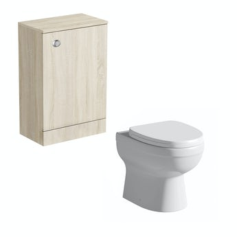 Arden oak back to wall unit with Energy toilet
