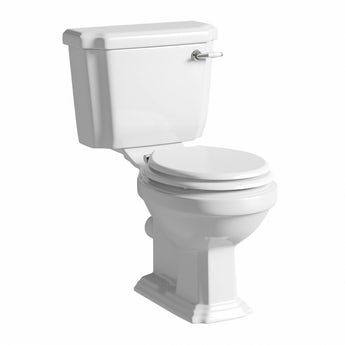 Cavendish close coupled toilet with soft close wooden toilet seat white