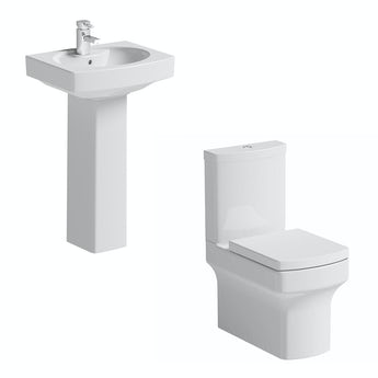 Vermont close coupled toilet suite with full pedestal basin 550mm