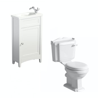 Camberley white cloakroom unit with Winchester close coupled toilet