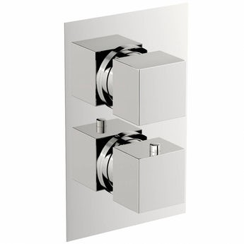 Cubik square twin thermostatic shower valve with diverter offer pack