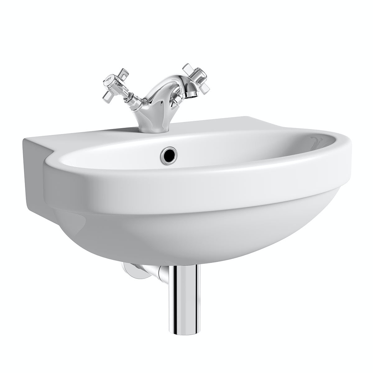 Deco 1 tap hole wall hung basin 490mm with waste VictoriaPlum.com