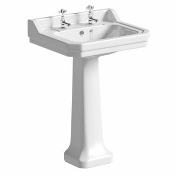 The Bath Co. Camberley 2 tap hole full pedestal basin 610mm with waste
