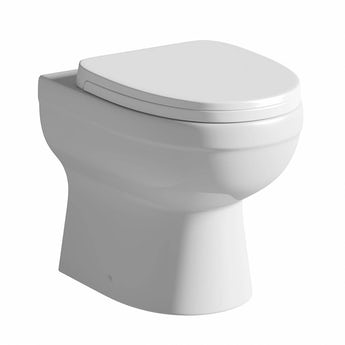 Energy back to wall toilet with soft close toilet seat