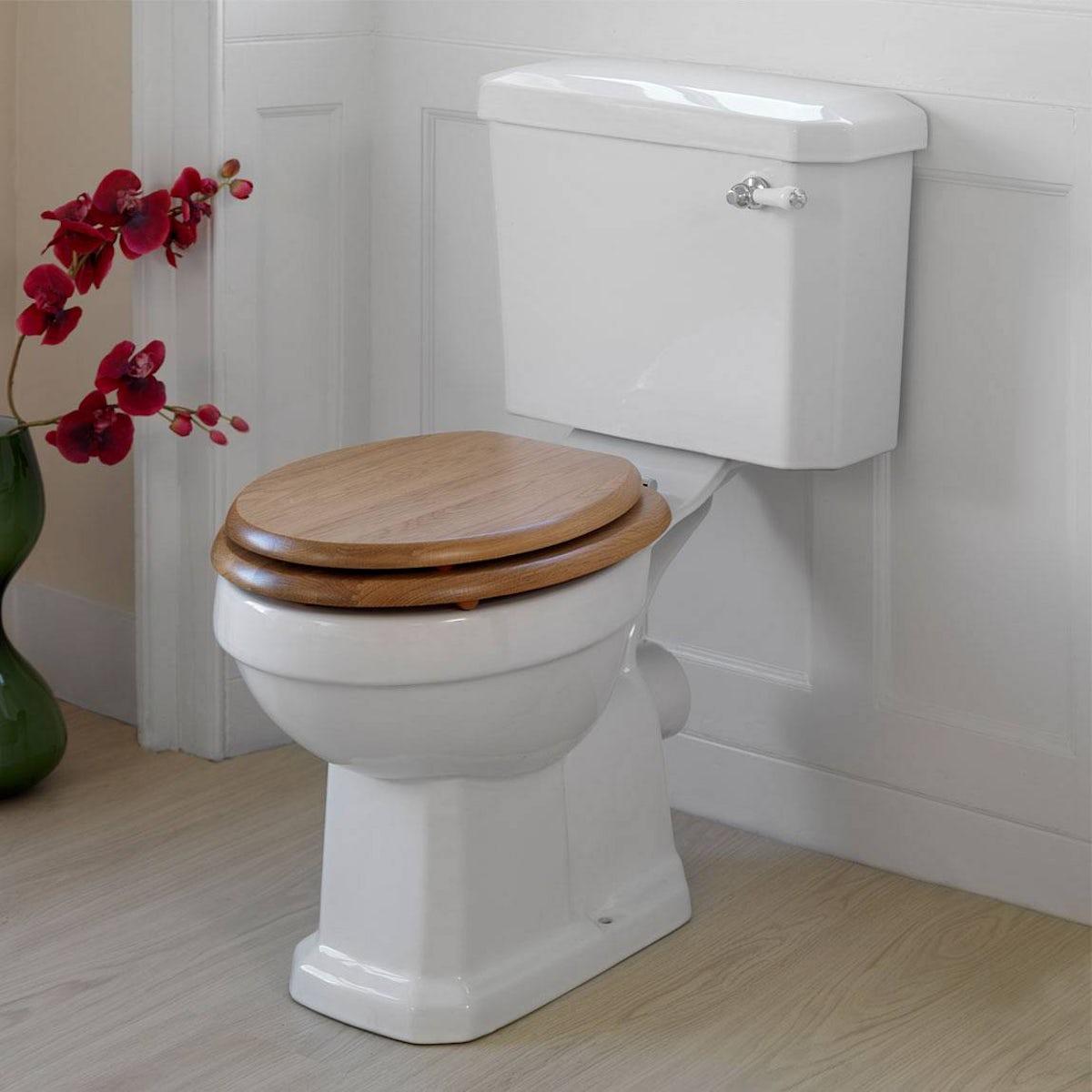 Oak wooden toilet seat for Trend toilet