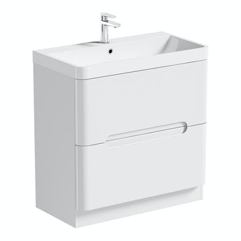 Mode Planet white vanity drawer unit and basin 800mm