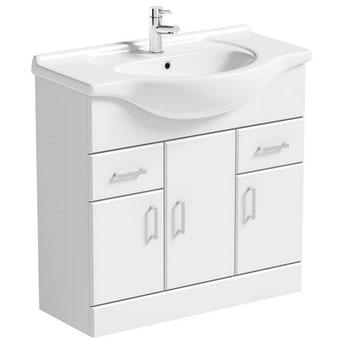 Sienna white vanity unit with basin 850mm