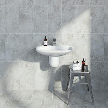 Metropolis mid grey matt tile 248mm x 498mm