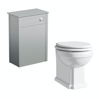 The Bath Co. Camberley grey back to wall toilet unit and Winchester back to wall toilet