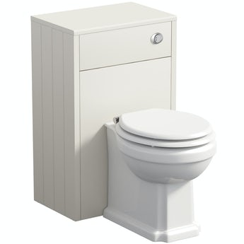 The Bath Co. Winchester ivory back to wall unit and toilet with white wooden seat