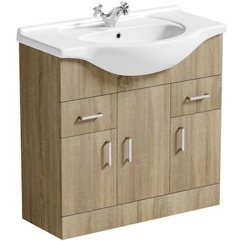 Sienna oak vanity unit and basin 850mm. Sienna oak bathroom furniture   VictoriaPlum com