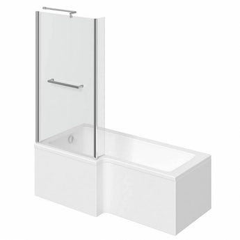 L shaped left handed shower bath 1700mm with 6mm shower screen and rail