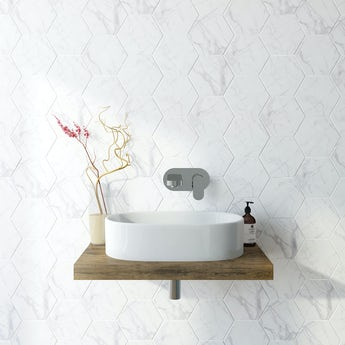 Hex marble matt tile 175mm x 202mm