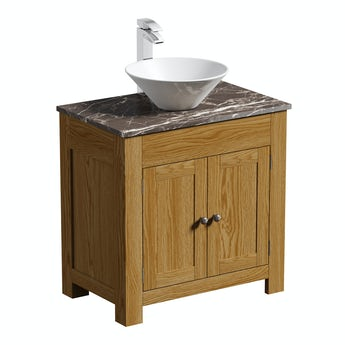 The Bath Co. Chester oak washstand 800mm with brown marble top and Erie basin