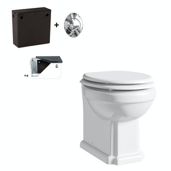 Winchester back to wall toilet with white seat and concealed cistern