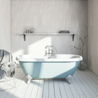 bluebell coloured bath with tap and waste