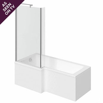 L shaped left handed shower bath 1500mm with 6mm shower bath screen