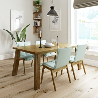 Lincoln oak dining table with 4 x Hadley light green dining chairs