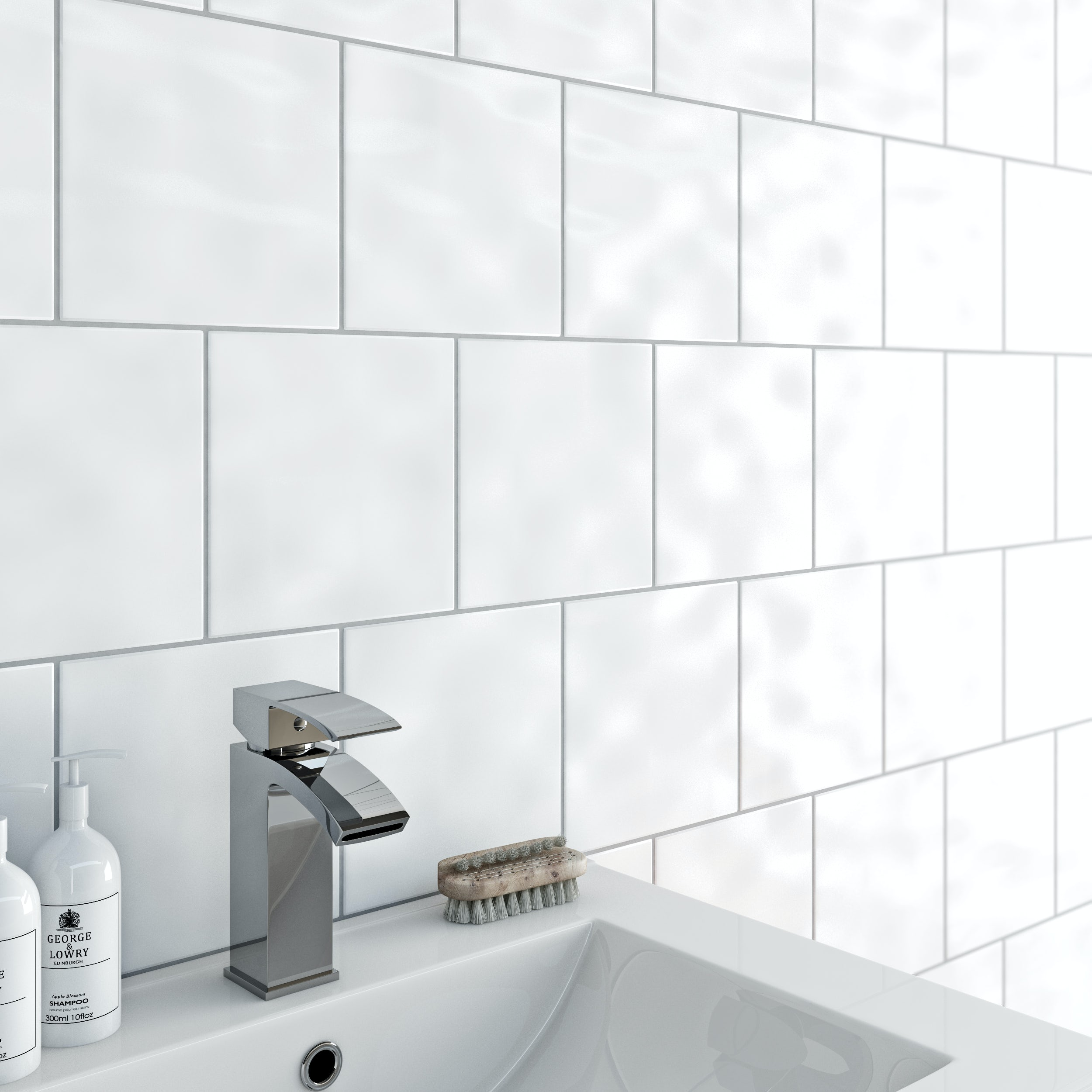 Clarity Bumpy White Gloss Tile 198mm X 198mm