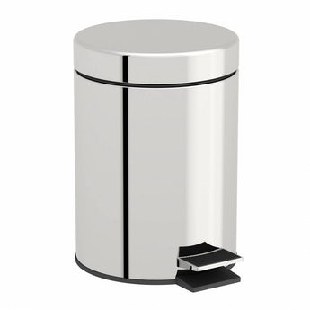 Options round stainless steel bathroom bin 5 litre