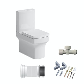 Vermont close coupled toilet with soft close seat and fittings pack