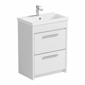Smart white vanity drawer unit with basin 600mm