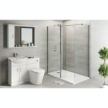 Sienna white suite with 8mm frameless walk in shower enclosure and tray