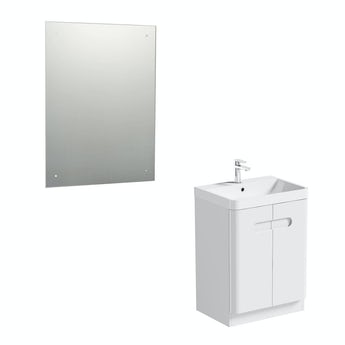 Mode Planet white vanity door unit 600mm and mirror offer