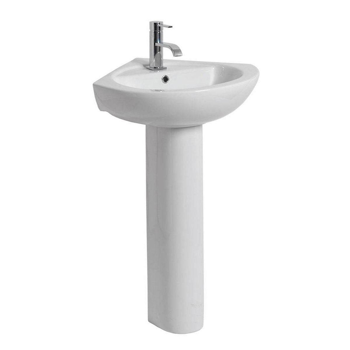 Corner Pedestal Basin : Palm 1 tap hole full pedestal corner basin 565mm