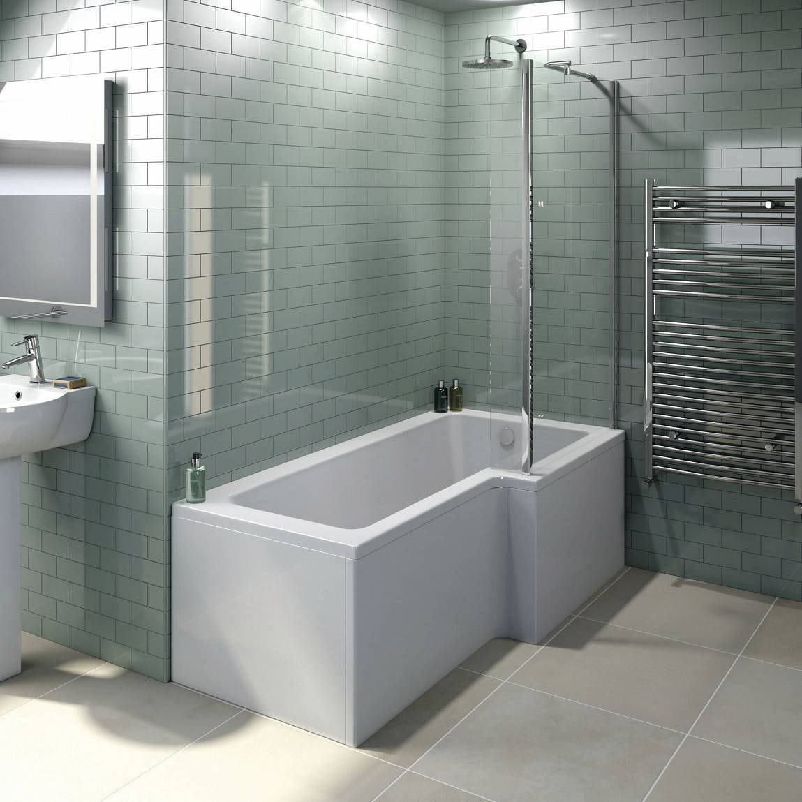 Boston shower bath 1500 x 850 rh inc screen for Bathtub shapes and sizes