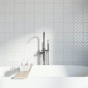 Studio Conran ridge white gloss tile 198mm x 198mm