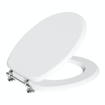 Wooden toilet seat with stainless bar hinge