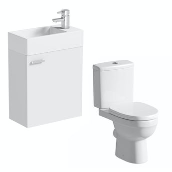 Compact white wall hung unit with Energy close coupled toilet