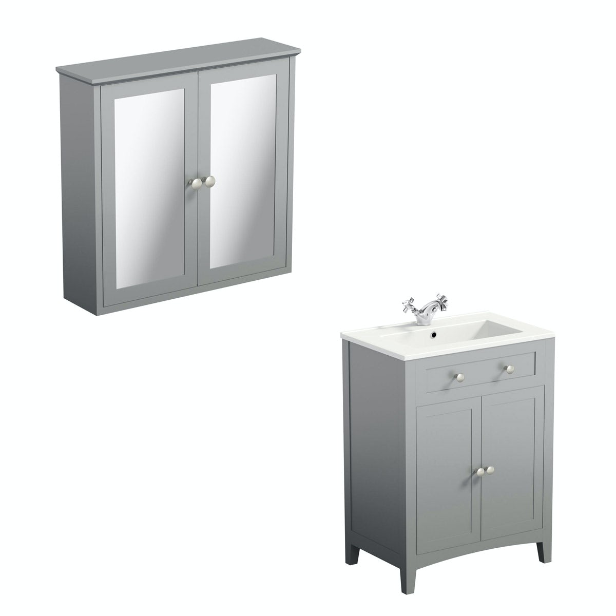 The bath co camberley grey vanity unit 600mm and mirror for Bathroom cabinets 600mm