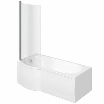 P shaped left handed shower bath 1500mm with 6mm shower screen