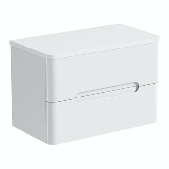Mode Planet white wall hung vanity drawer unit and countertop 800mm