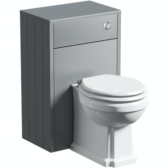 The Bath Co. Winchester grey back to wall unit and toilet with white wooden seat
