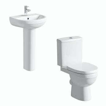 Energy close coupled toilet suite with full pedestal basin 550mm