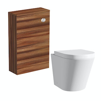 Arte back to wall toilet with seat and Smart walnut unit