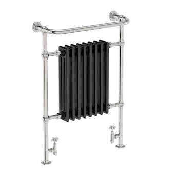 Elizabeth black traditional heated towel rail 952 x 659
