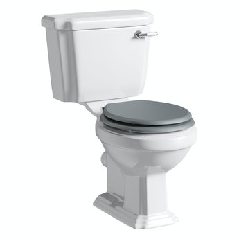 Cavendish close coupled toilet inc grey soft close seat