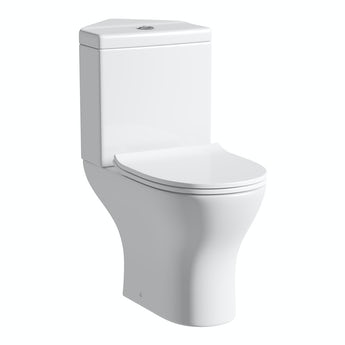 Compact Round corner close coupled toilet with slimline soft close toilet seat