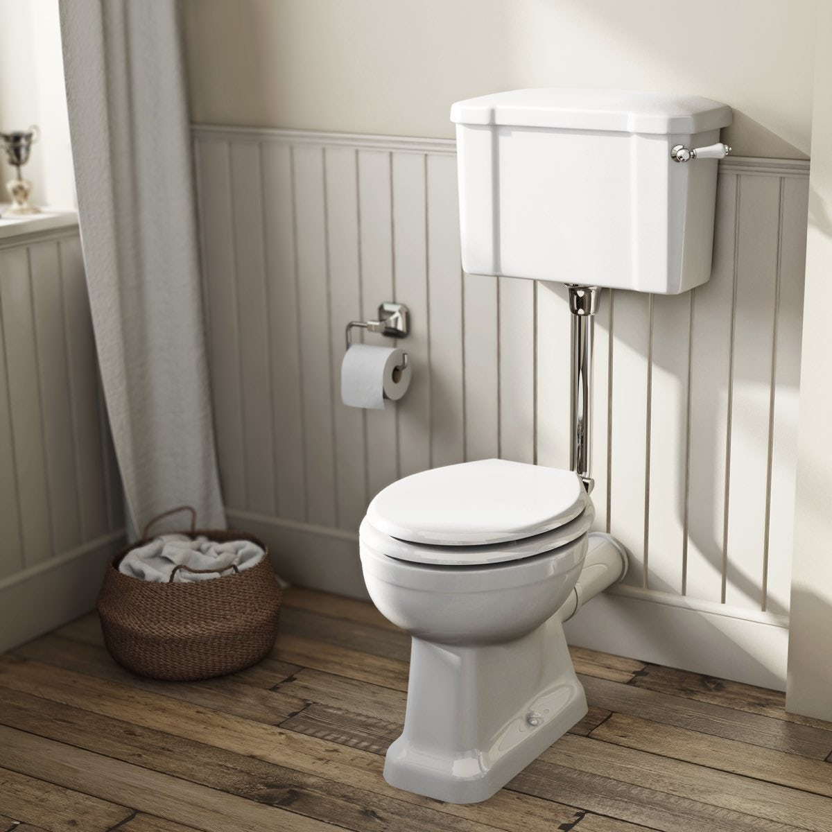 The Bath Co Camberley Low Level Toilet With Wooden Soft Close Seat White V
