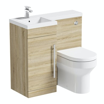 MySpace oak left handed unit with Oakley back to wall toilet