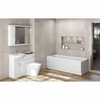 Sienna Arte suite with Kensington single ended straight bath 1700 x 700