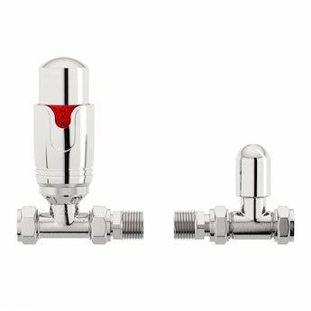 Thermostatic chrome straight radiator valves
